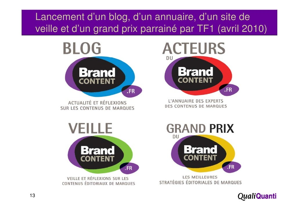 Lancement d'un blog, d'un annuaire, d'un site de     veille et d'un grand p p                    g     prix parrainé p TF1...