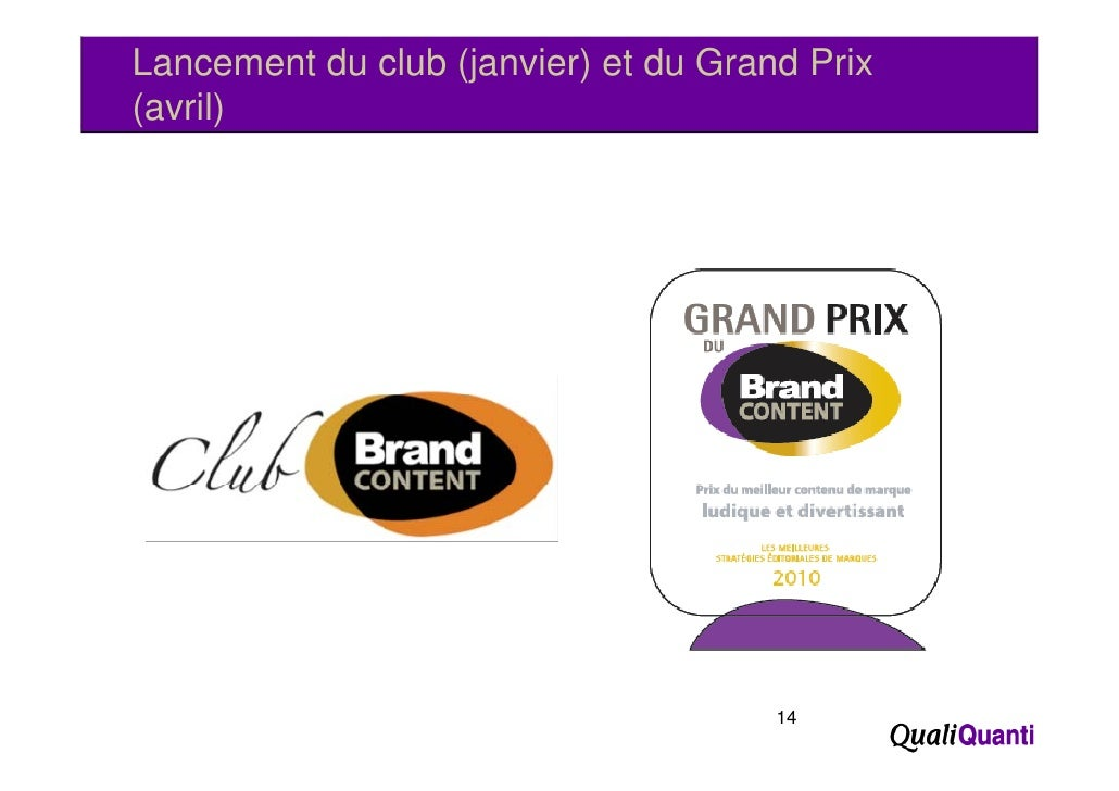 Lancement du club (janvier) et du Grand Prix((avril)      )                                      14