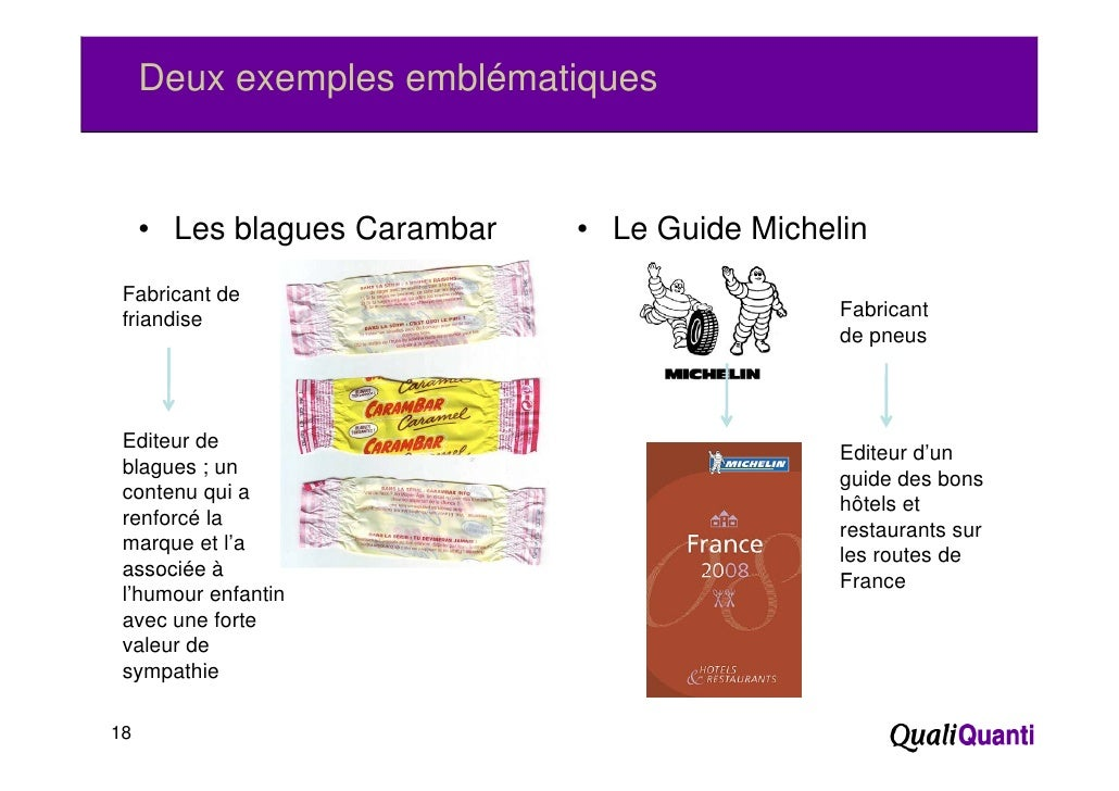 Deux exemples emblématiques     • Les blagues Carambar   • Le Guide Michelin Fabricant de friandise                       ...