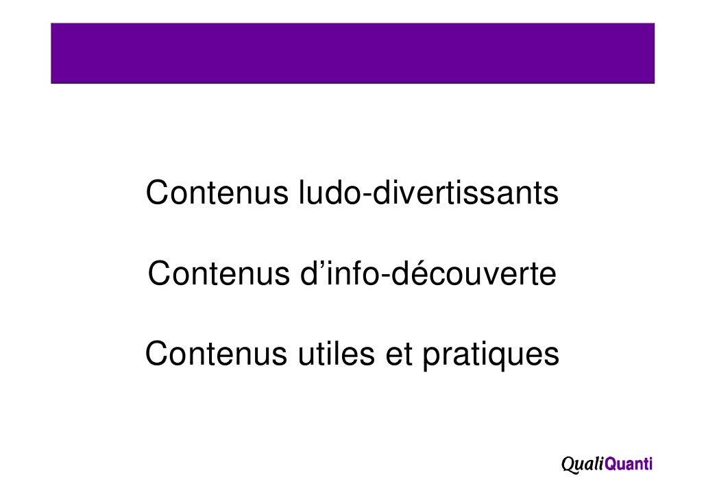 Contenus ludo divertissants         ludo-divertissantsContenus d'info-découverteContenus utiles et pratiques