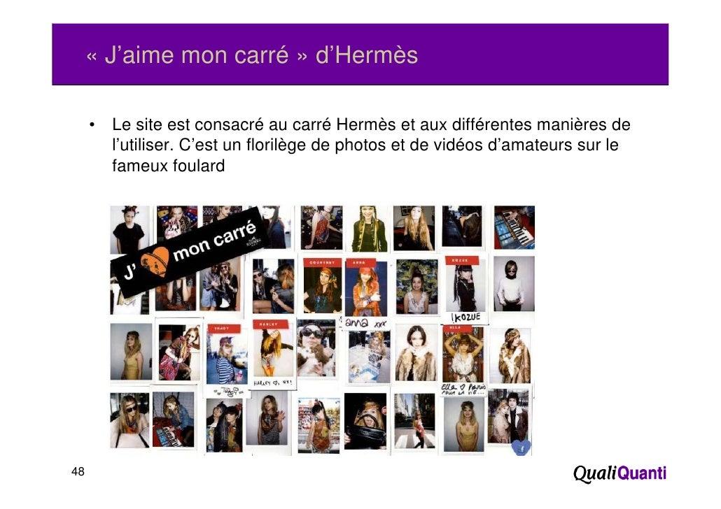 « J'aime mon carré » d'Hermès     •   Le site est consacré au carré Hermès et aux différentes manières de         l'utilis...