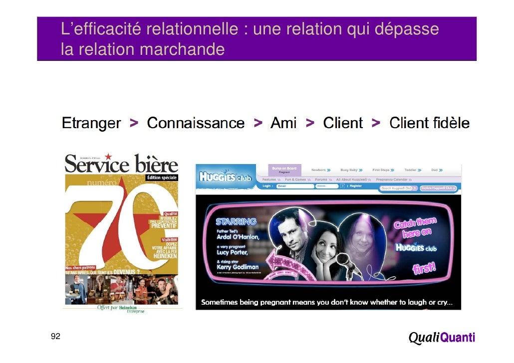 L'efficacité relationnelle : une relation qui dépasse     la relation marchande92
