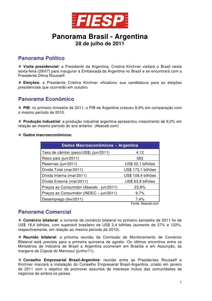 Panorama Brasil - Argentina                               28 de julho de 2011Panorama Político Visita presidencial: a Pre...