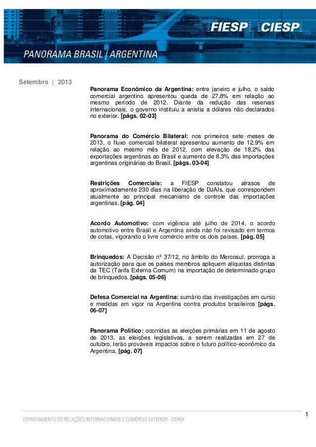 1 Setembro | 2013 Panorama Econômico da Argentina: entre janeiro e julho, o saldo comercial argentino apresentou queda de ...
