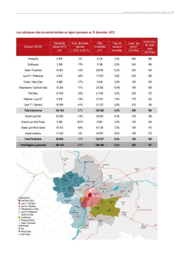 Pulse • Le marché tertiaire en région lyonnaise • Janvier 2013 3Les indicateurs clés du marché tertiaire en région lyonnai...