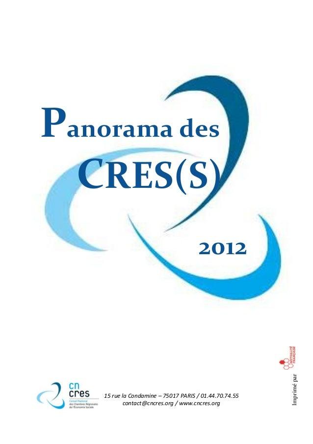 Panorama des  CRES(S)                                       2012                                                         I...