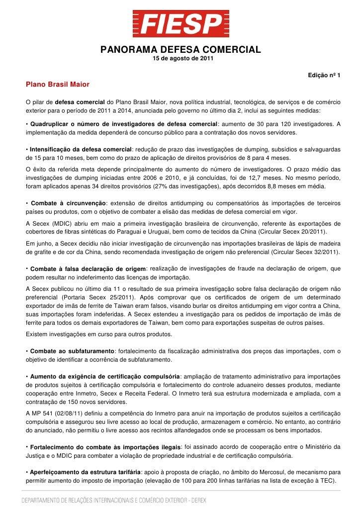 PANORAMA DEFESA COMERCIAL                                              15 de agosto de 2011                               ...