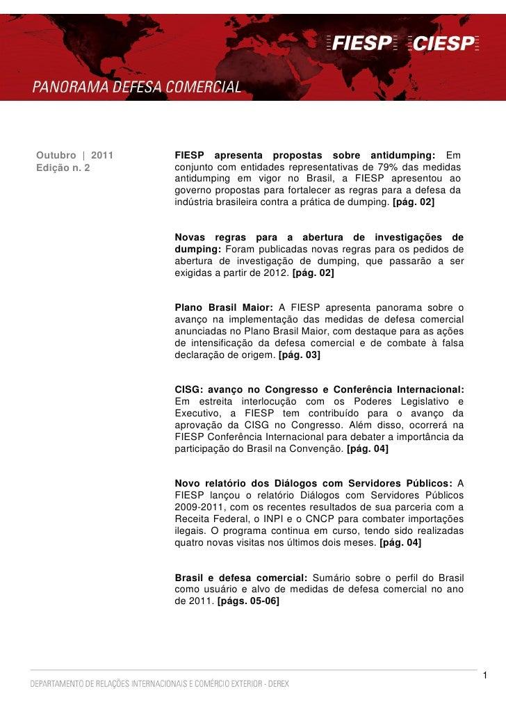 Outubro | 2011   FIESP apresenta propostas sobre antidumping: EmEdição n. 2      conjunto com entidades representativas de...