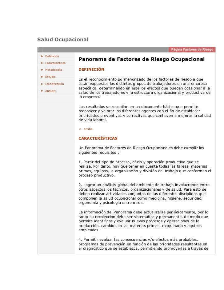 Salud Ocupacional  Definición                    Panorama de Factores de Riesgo Ocupacional  Características  Metodología ...