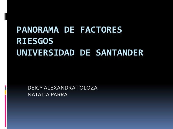 PANORAMA DE FACTORES  RIESGOS  UNIVERSIDAD DE SANTANDER<br />DEICY ALEXANDRA TOLOZA<br />NATALIA PARRA<br />