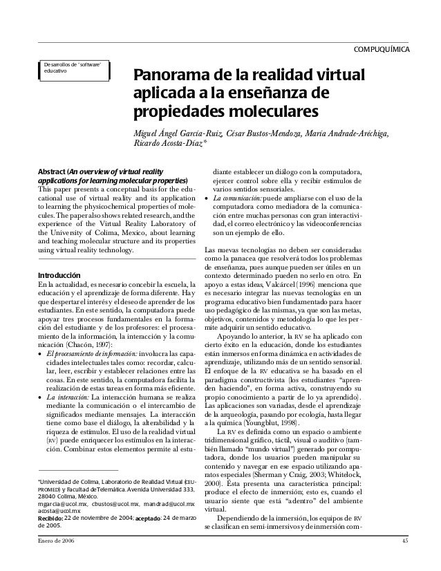Abstract (An overview of virtual reality applications for learning molecular properties) This paper presents a conceptual ...