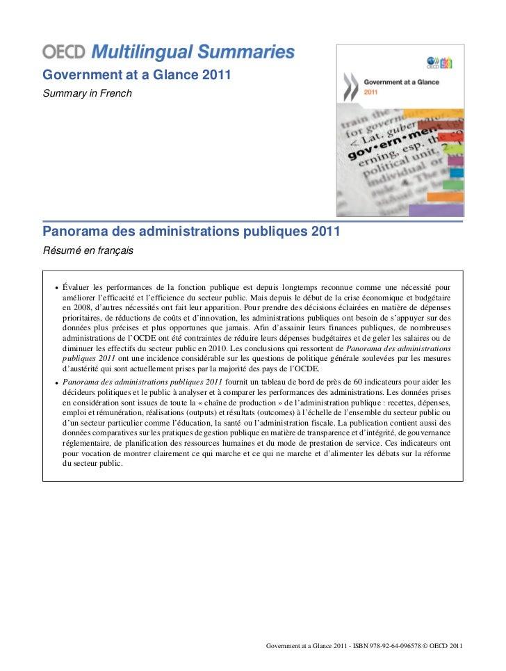 Government at a Glance 2011Summary in FrenchPanorama des administrations publiques 2011Résumé en français  • Évaluer les p...