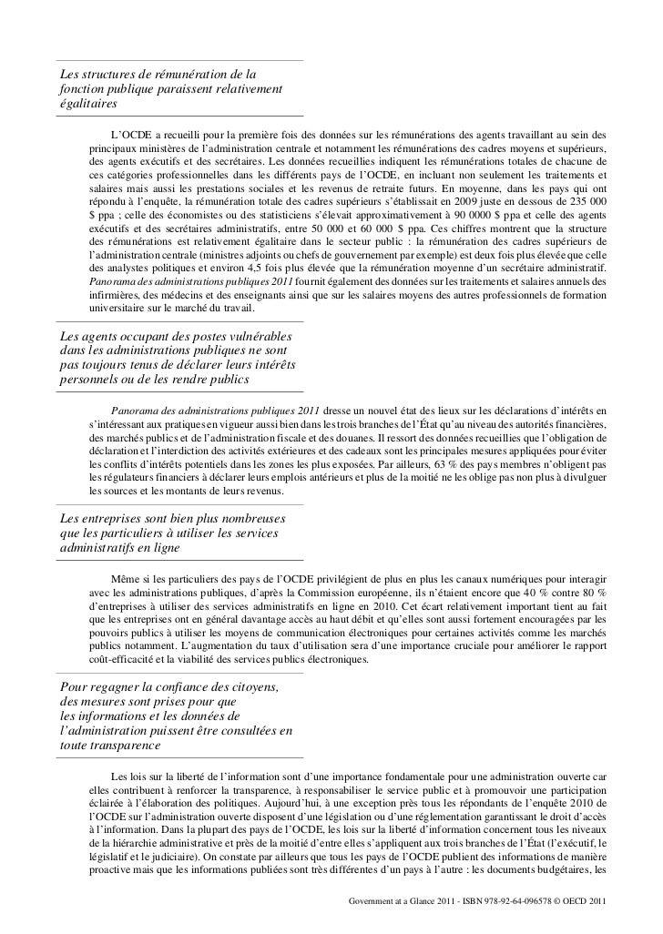 Les structures de rémunération de lafonction publique paraissent relativementégalitaires           L'OCDE a recueilli pour...