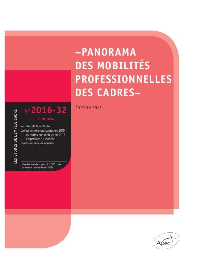 LESÉTUDESDEL'EMPLOICADRE –PANORAMA DES MOBILITÉS PROFESSIONNELLES DES CADRES– ÉDITION 2016 — Bilan de la mobilité professi...