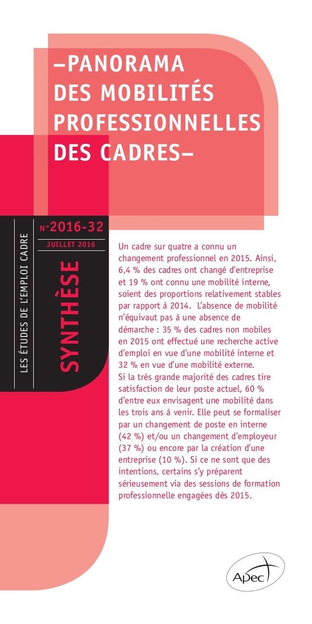 –PANORAMA DES MOBILITÉS PROFESSIONNELLES DES CADRES– LESÉTUDESDEL'EMPLOICADRE SYNTHÈSE JUILLET 2016 Un cadre sur quatre a ...
