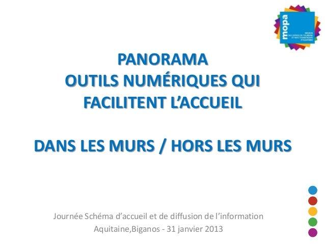 PANORAMA     OUTILS NUMÉRIQUES QUI       FACILITENT L'ACCUEILDANS LES MURS / HORS LES MURS  Journée Schéma d'accueil et de...