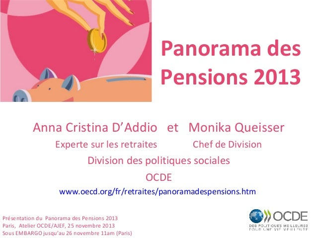 Panorama des Pensions 2013 Anna Cristina D'Addio et Monika Queisser Experte sur les retraites  Chef de Division  Division ...