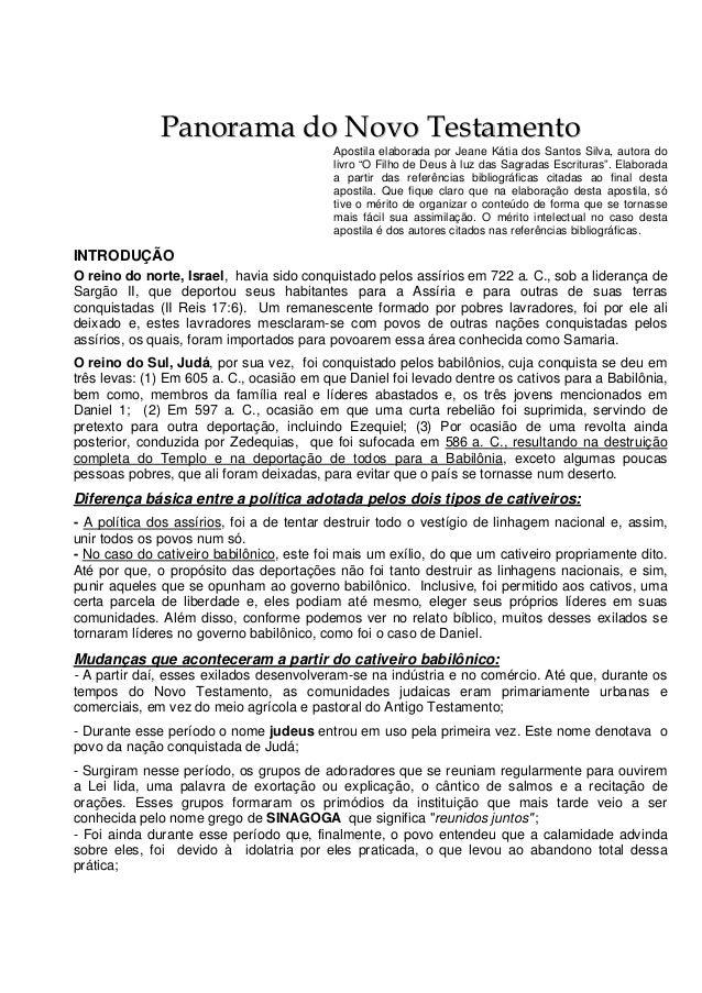 Panorama do Novo Testamento                                          Apostila elaborada por Jeane Kátia dos Santos Silva, ...