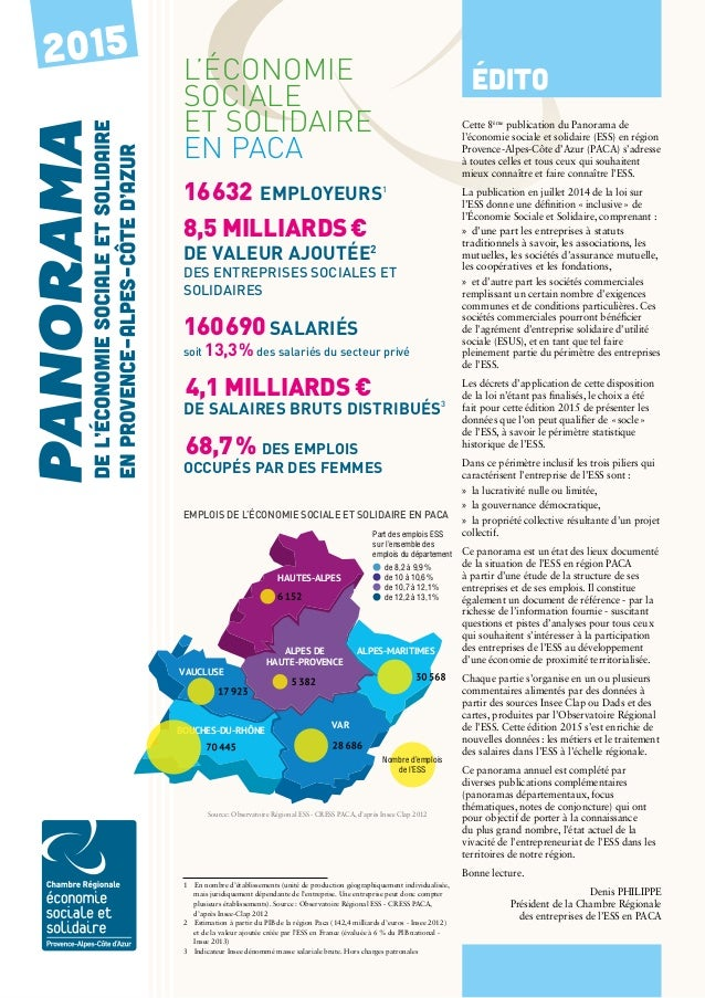 PANORAMA régional 2015 P.1 2015 L'économie sociale et solidaire en PACA 16632 employeurs1 8,5 milliards€ de valeur ajout...