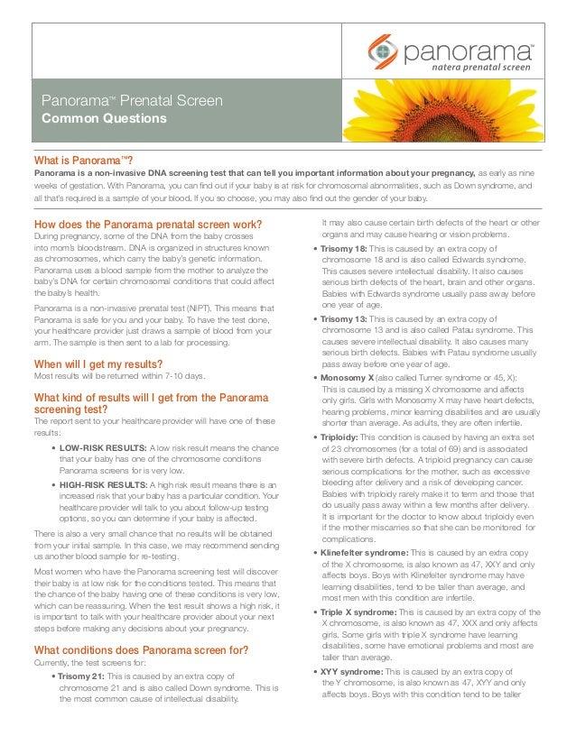 Panorama Prenatal Screen Common Questions