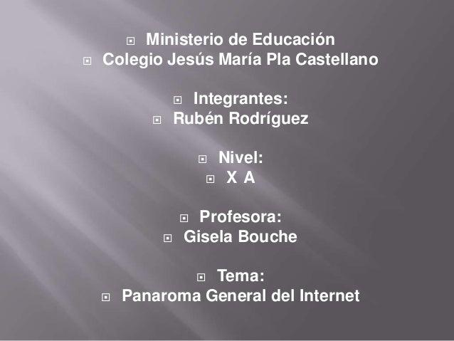  Ministerio de Educación  Colegio Jesús María Pla Castellano  Integrantes:  Rubén Rodríguez  Nivel:  X A  Profesora...