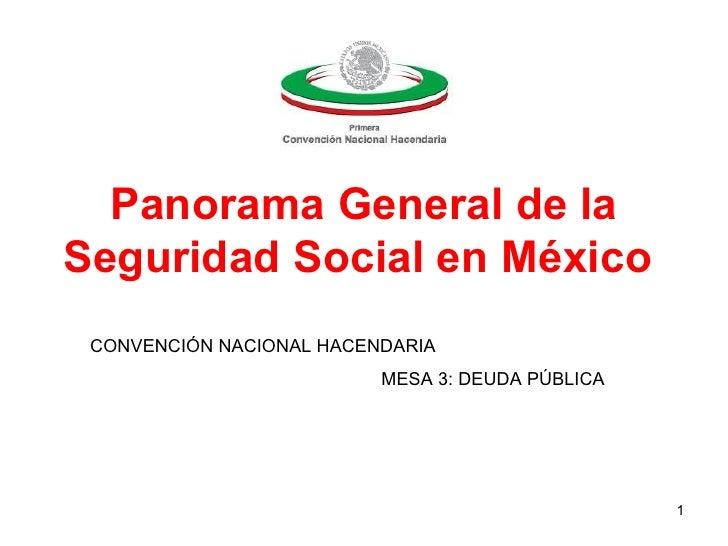 Panorama General de laSeguridad Social en México CONVENCIÓN NACIONAL HACENDARIA                          MESA 3: DEUDA PÚB...