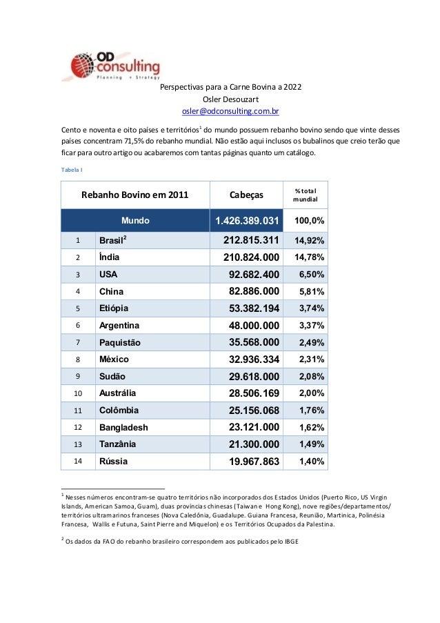 Perspectivas para a Carne Bovina a 2022 Osler Desouzart osler@odconsulting.com.br Cento e noventa e oito países e territór...