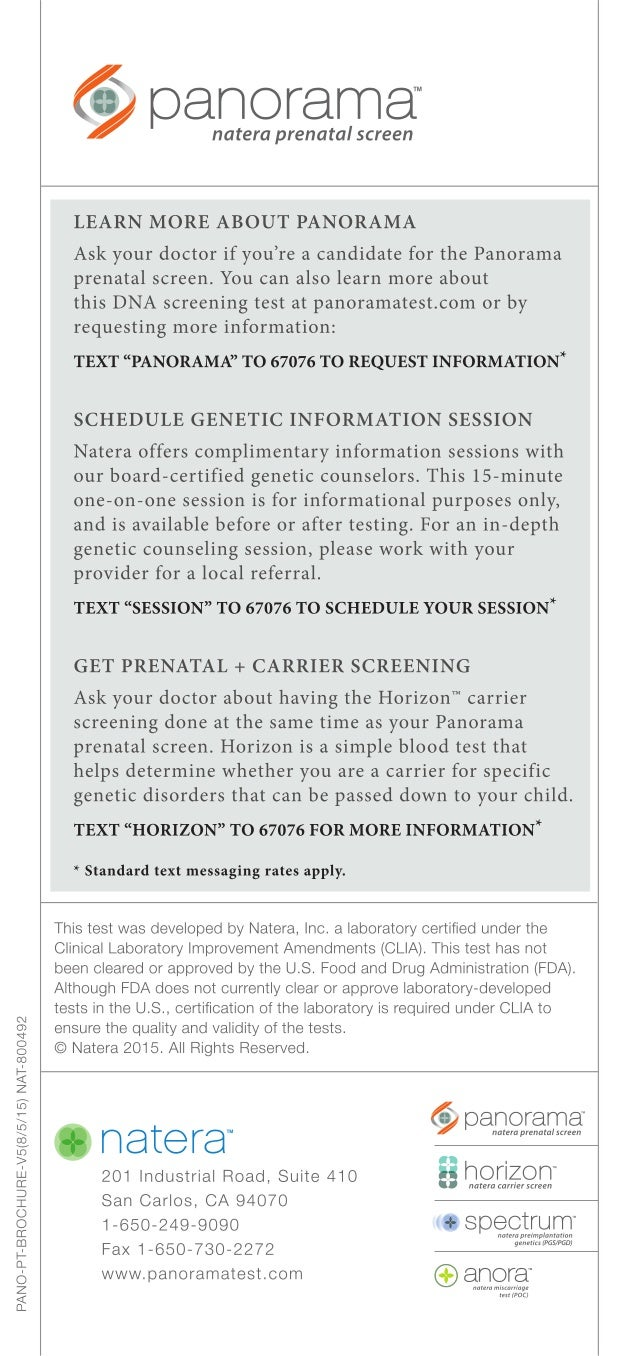 Panorama Prenatal Screen Brochure For Prospective Patients