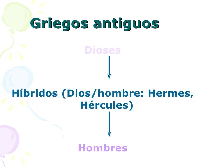 Griegos antiguos <ul><li>Dioses </li></ul><ul><li>Híbridos (Dios/hombre: Hermes, Hércules) </li></ul><ul><li>Hombres </li>...
