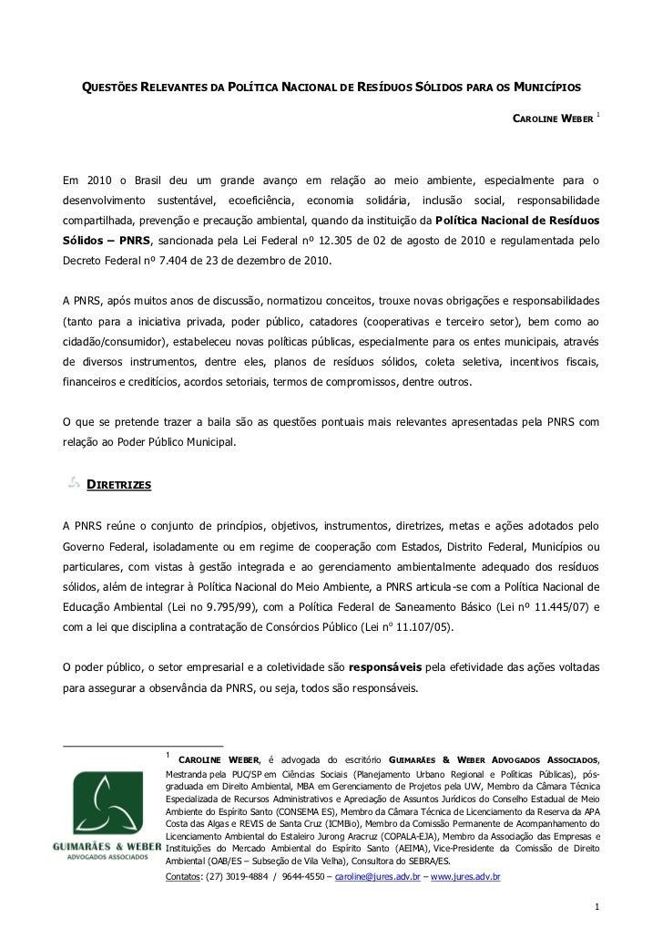 QUESTÕES RELEVANTES DA POLÍTICA NACIONAL DE RESÍDUOS SÓLIDOS PARA OS MUNICÍPIOS                                           ...