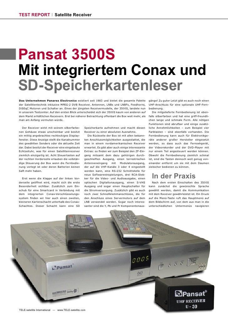 TEST REPORT                 Satellite Receiver     Pansat 3500S Mit integriertem Conax und SD-Speicherkartenleser Das Unte...