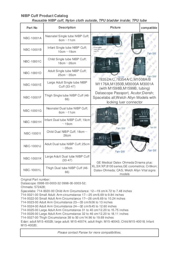 NIBP Cuff Product Catalog Part No compatible NBC-10001A NBC-10001B NBC-10001C NBC-10001D NBC-10001E NBC-10001F NBC-10001G ...