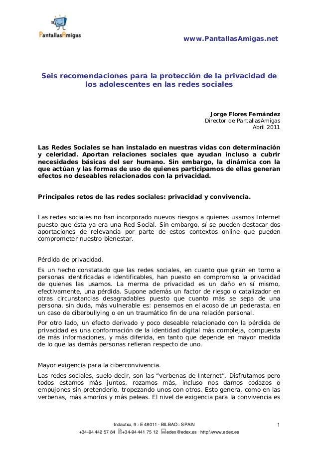 www.PantallasAmigas.net Indautxu, 9 λ E 48011 - BILBAO λ SPAIN +34-94 442 57 84 +34-94 441 75 12 edex@edex.es http:www.ede...