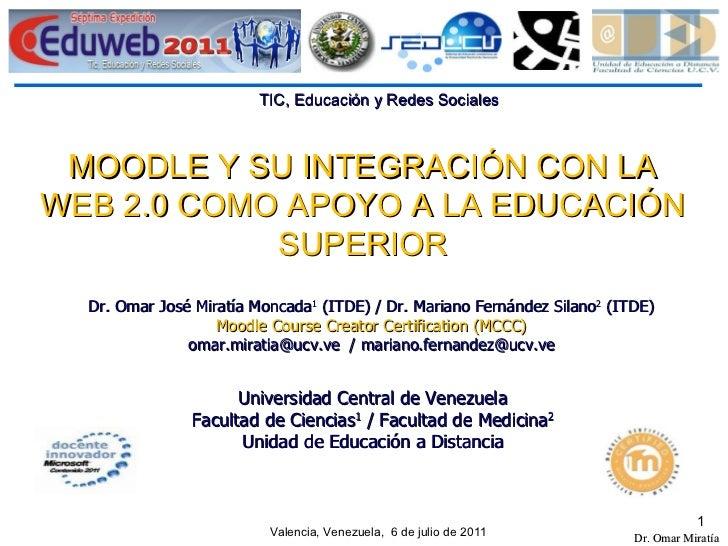 MOODLE Y SU INTEGRACIÓN CON LA WEB 2.0 COMO APOYO A LA EDUCACIÓN SUPERIOR Dr. Omar José Miratía Moncada 1  (ITDE) / Dr. Ma...