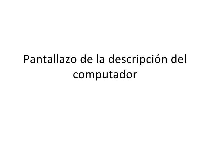 Pantallazo de la descripción del computador