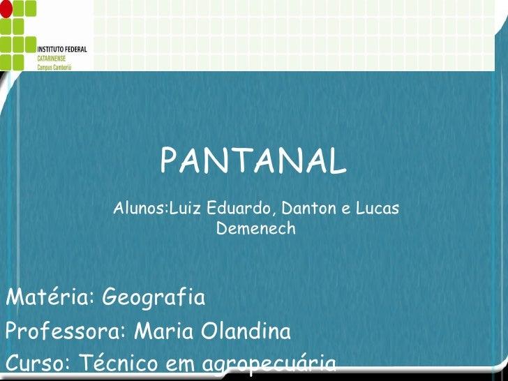 PANTANAL Matéria: Geografia  Professora: Maria Olandina Curso: Técnico em agropecuária   Alunos:Luiz Eduardo, Danton e Luc...