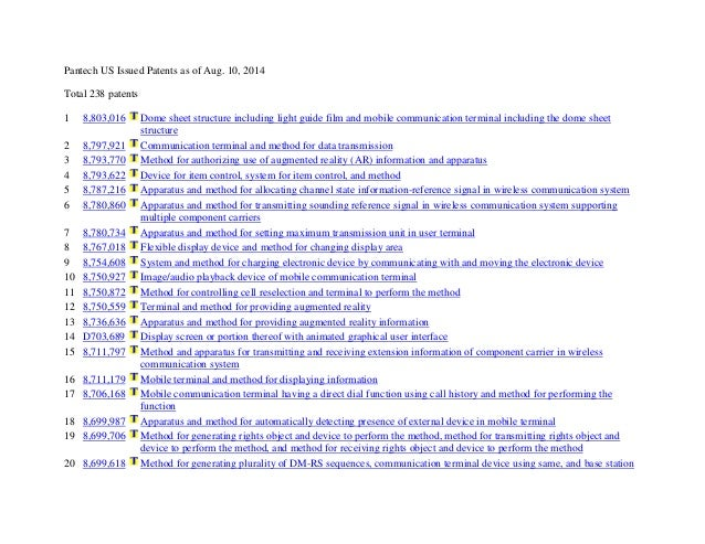 Pantech US Issued Patents as of Aug. 10, 2014 Total 238 patents 1 8,803,016 Dome sheet structure including light guide fil...