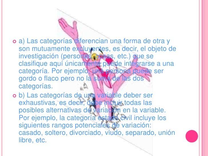 a) Las categorías diferencian una forma de otra y son mutuamente excluyentes, es decir, el objeto de investigación (person...