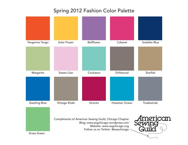 Spring 2012 Fashion Color PaletteTangerine Tango      Solar Power          Bellflower           Cabaret      Sodalite Blue...