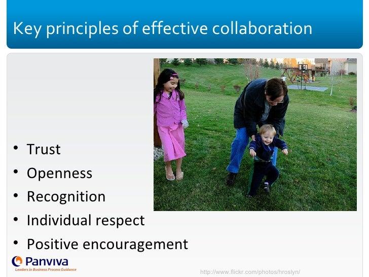 Key principles of effective collaboration <ul><li>Trust </li></ul><ul><li>Openness </li></ul><ul><li>Recognition </li></ul...