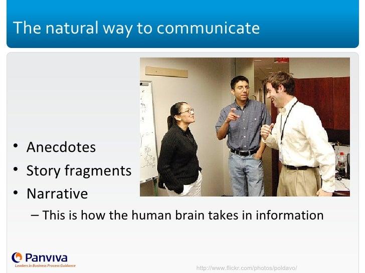 The natural way to communicate <ul><li>Anecdotes </li></ul><ul><li>Story fragments </li></ul><ul><li>Narrative </li></ul><...