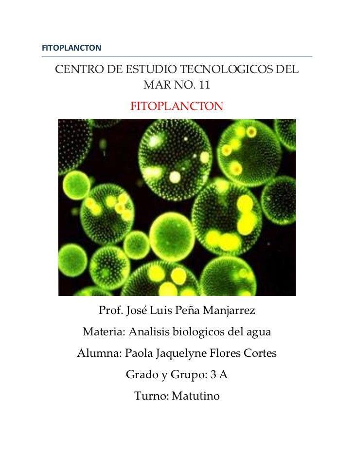 FITOPLANCTON  CENTRO DE ESTUDIO TECNOLOGICOS DEL               MAR NO. 11                 FITOPLANCTON           Prof. Jos...