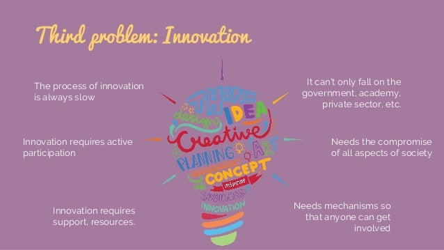 Third problem: Innovation The process of innovation is always slow Innovation requires active participation Innovation req...