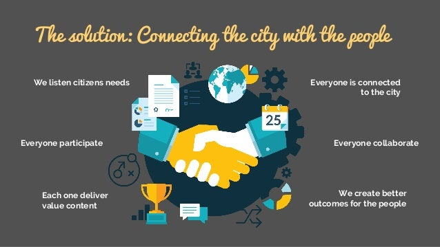 The solution: Connecting the city with the people We listen citizens needs Everyone participate Each one deliver value con...