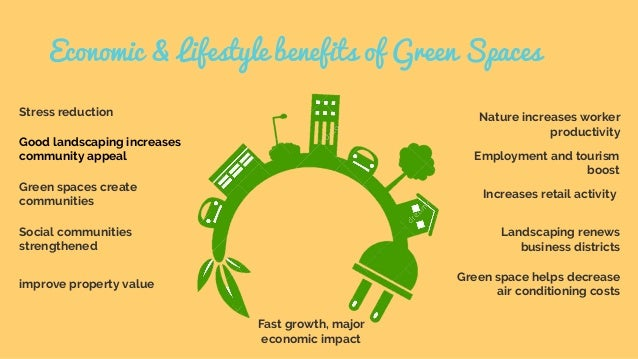 Economic & Lifestyle benefits of Green Spaces Stress reduction Good landscaping increases community appeal Green spaces cr...