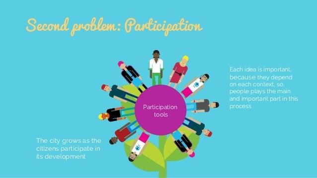 Second problem: Participation The city grows as the citizens participate in its development Participation tools Each idea ...