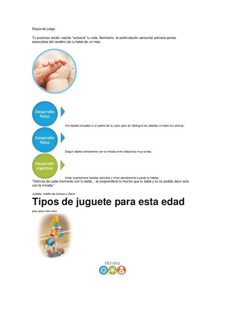 """Etapa de juegoTu precioso recién nacido """"activará"""" tu vida. Asimismo, la estimulación sensorial activará partesesenciales ..."""