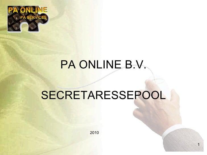 PA ONLINE B.V. SECRETARESSEPOOL 2010