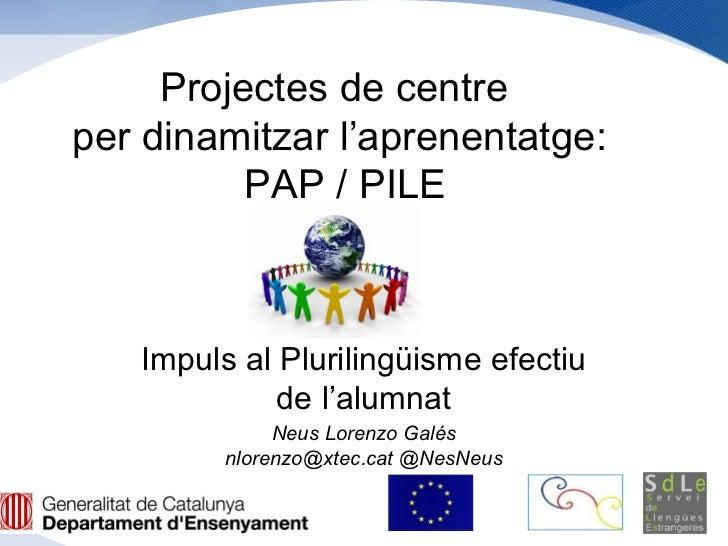 Projectes de centreper dinamitzar l'aprenentatge:          PAP / PILE   Impuls al Plurilingüisme efectiu             de l'...