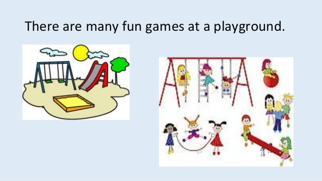 There are many fun games at a playground.